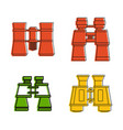 binocular icon set color outline style vector image