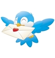 bird carrying love letter vector image vector image