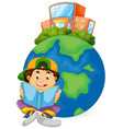 boy reading book with earth icon vector image vector image