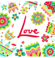 Bright card background with saturated flowers and vector image
