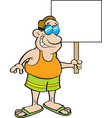 cartoon man wearing a swimsuit and holding a sign vector image vector image