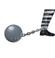 convicts ball and leg vector image vector image