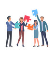 coworkers with big puzzle parts in hands vector image vector image