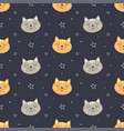 cute face cat seamless pattern vector image vector image