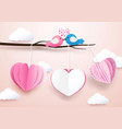 cute heart shape mobile hanging with branches vector image vector image
