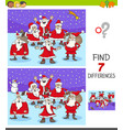 differences game with santa claus characters vector image vector image