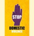 domestic violence pop art banner on yellow vector image