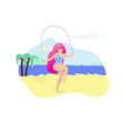 girl with pink hair jumping with rope on beach vector image