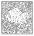 hand drawn rat against floral pattern vector image