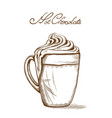 hot chocolate line art style delicious sweets vector image vector image