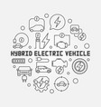 hybrid electric vehicle round vector image