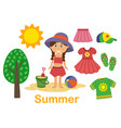 isolated summer set with girl tree and clothes vector image vector image