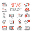 journalism media hot tv news outline black vector image vector image
