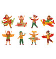 kids in pilot costumes paper toy plane wings vector image vector image