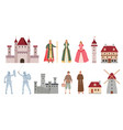 medieval characters cartoon middle ages king vector image