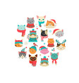merry christmas with cute cats characters vector image vector image