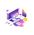 modern web isometric data analysis vector image