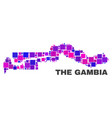 mosaic the gambia map of square elements vector image vector image