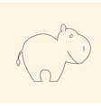 One line cute hippo vector image