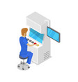 operator console production line isometric 3d icon vector image