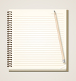Paper notebook and pencil vector image vector image