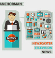 Profession of people Flat infographic Anchorman vector image vector image