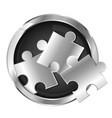 puzzles in silver circle symbol vector image vector image