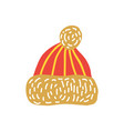 red knitted hat with bubo vector image vector image