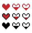 Retro game pixel hearts vector image vector image