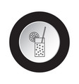 round black white button icon - carbonated drink vector image