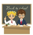 schoolkids at desk sitting in front of blackboard vector image vector image