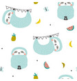 seamless pattern with cute sloths and fruits vector image