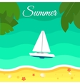 Seascape with Sailing Yacht Summer Banner vector image vector image
