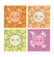 set of cute suns collection vector image vector image