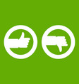 signs hand up and down icon green vector image vector image