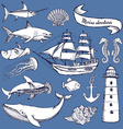 Sketch set of marine elements vector image vector image