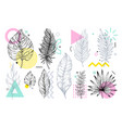 summer tropical leaf set with geometric memphis vector image vector image