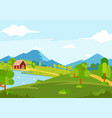 sunny spring season landscape view vector image vector image
