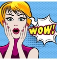 Surprised woman face with WOW bubble vector image vector image