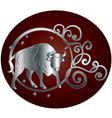 taurus zodiac sign in circle frame vector image vector image