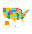 usa political map color map with state borders vector image