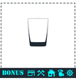 Whiskey glass icon flat vector image vector image
