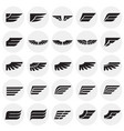 wings icons set on circles background for graphic vector image vector image
