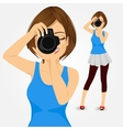 young photographer woman taking photos vector image