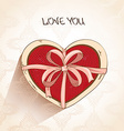 Love greeting card with heart pillow in box vector image