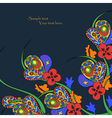 Black background with decorative bright flowers vector image