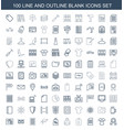 100 blank icons vector image vector image
