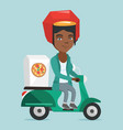 african-american woman delivering pizza on scooter vector image vector image