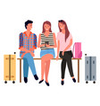 airport waiting room passengers with baggage vector image