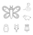 an unrealistic animal outline icons in set vector image